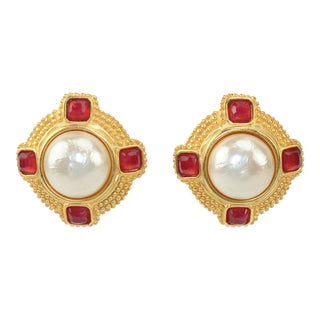 Karl Lagerfeld Faux Mabe Pearl & Amber Gold Earrings For Sale