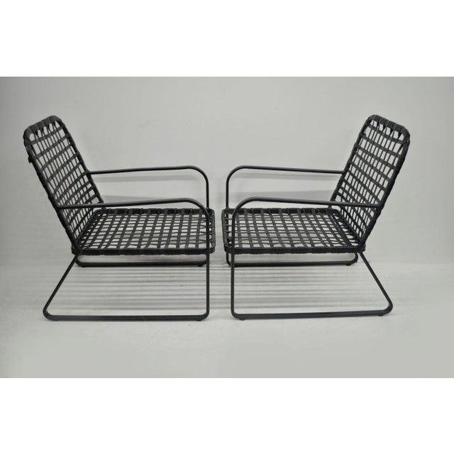 Pair of Brown Jordan Lido Aluminum Vinyl Strap Patio Pool Lounge Chairs Black A - Image 7 of 11
