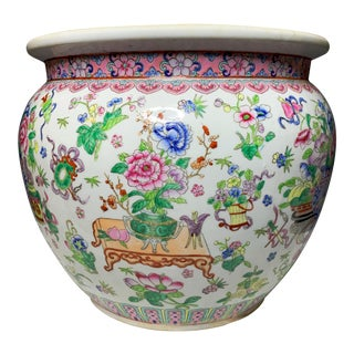 Vintage Hand-painted Qianlong Period Marked Cachepot For Sale
