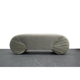 Vintage 1970s Regency Style Curved Shell Shape Velvet Bench Preview
