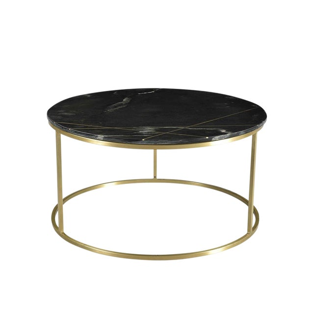 Zoe Black Marble Coffee Table For Sale