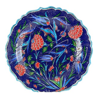 Turkish Handcrafted Wall Plate in Blue Turquoise For Sale