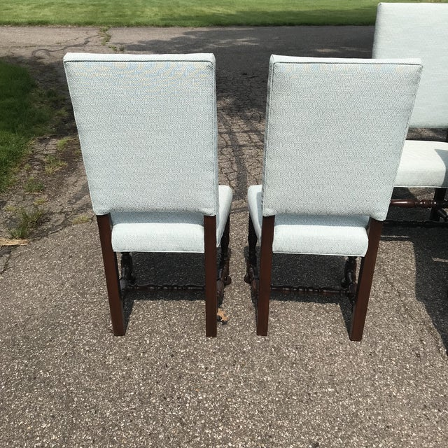 White Upholstered Baroque Walnut Dining Chairs - Set of 6 For Sale - Image 11 of 12