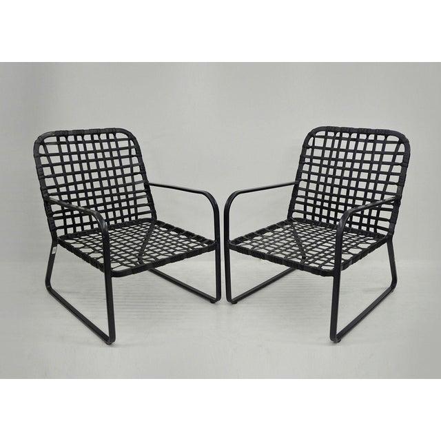Pair of Brown Jordan Lido Aluminum Vinyl Strap Patio Pool Lounge Chairs Black A - Image 11 of 11