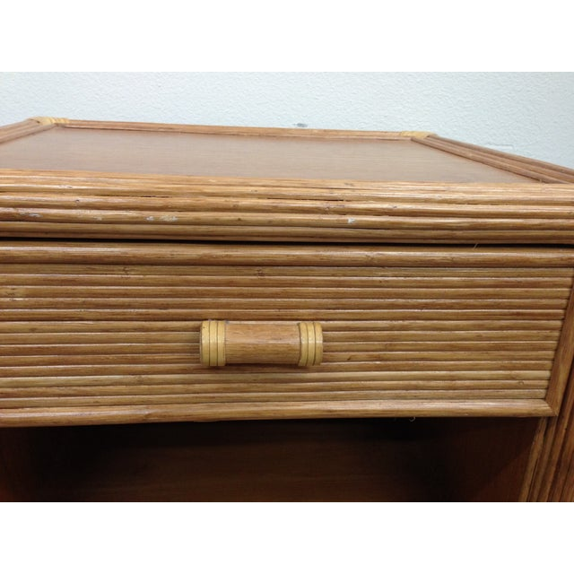 Island Style Wood & Rattan Nightstands - A Pair For Sale - Image 4 of 8