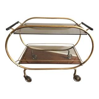 Mid-Century French Glass & Brass Bar Cart