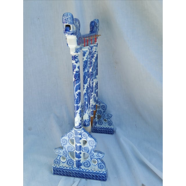 Chinese Blue Willow Calligraphy Brushes & Holder - Image 6 of 7