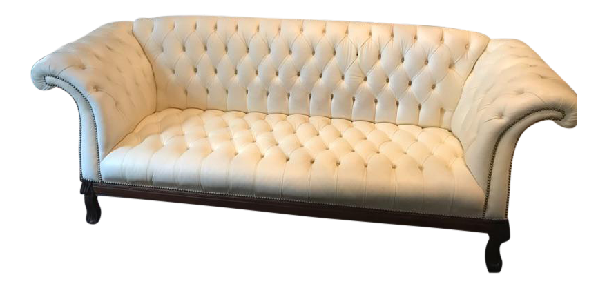 White Leather Horchow Chesterfield Sofa Chai