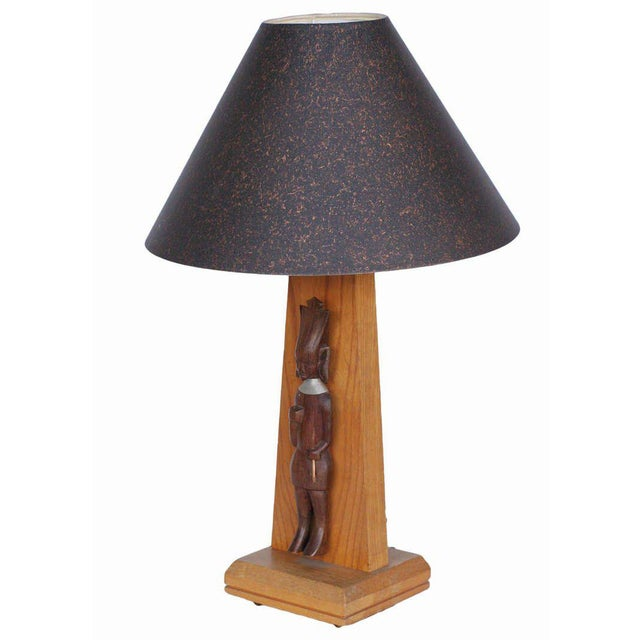 Mid-Century Table Lamp With African Carving Pair For Sale In Los Angeles - Image 6 of 8