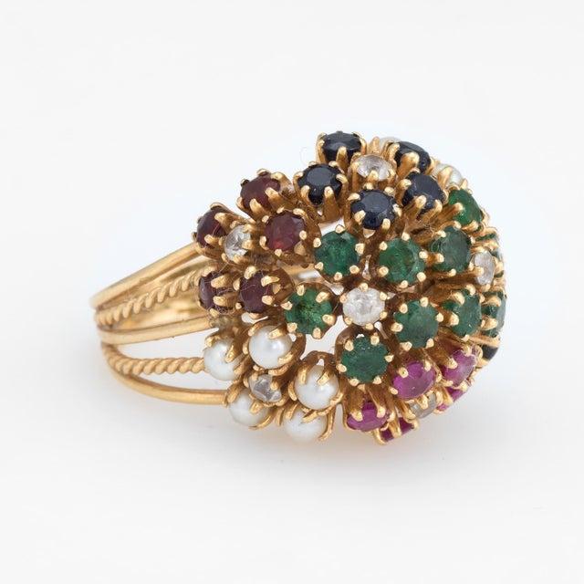 Modern Vintage Dome Cocktail Ring Bombe Flowers 18 Karat Gold Rainbow Gemstones 5 For Sale - Image 3 of 7