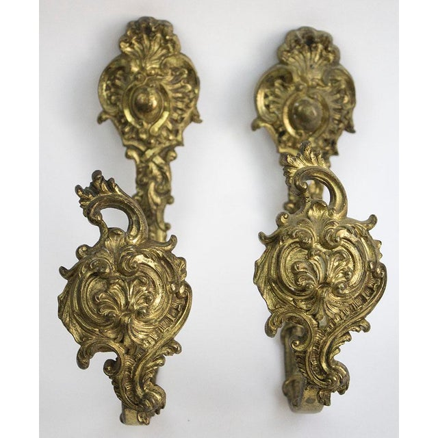 Metal Antique Bronze Drapery Holdbacks - A Pair For Sale - Image 7 of 7