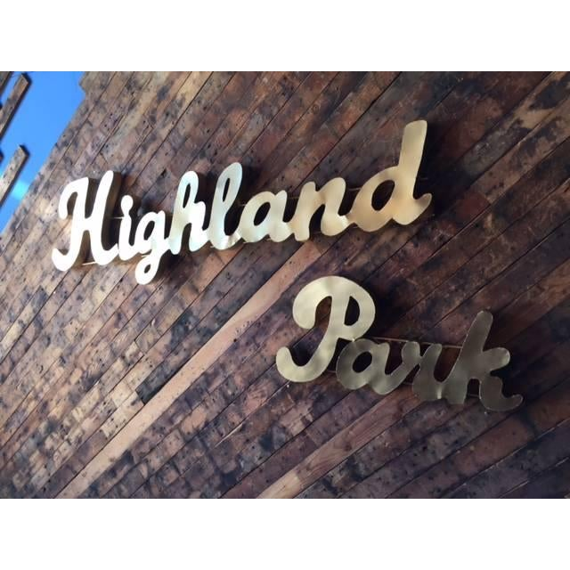 Industrial Gold Highland Park Metal Sign - Image 4 of 4