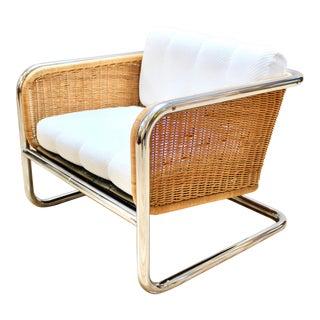 1970s Dutch Modern Martin Visser Chrome and Wicker Club Chair For Sale