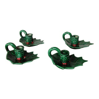 Vintage Ceramic Holly & Berry Candleholders - Set of 4 For Sale