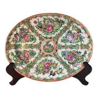 19th Century Chinese Rose Medallion Platter For Sale