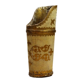 Vintage Hand-Painted Wooden Carved Umbrella Stand For Sale