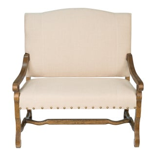 Great Hall Italian White Linen Oak Settee For Sale