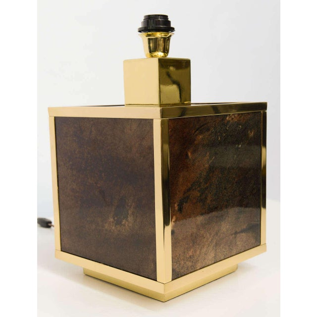 1960s Aldo Tura Goatskin and Brass Table Lamp For Sale - Image 5 of 10