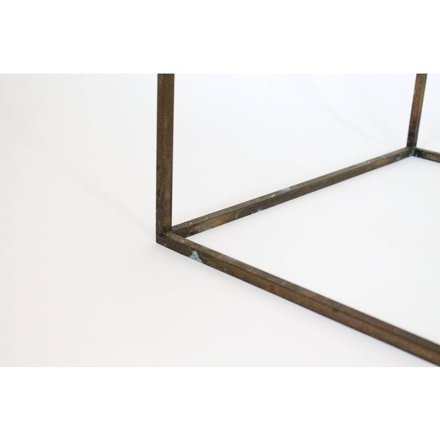 Rectangular Brass & Travertine Table For Sale - Image 11 of 11