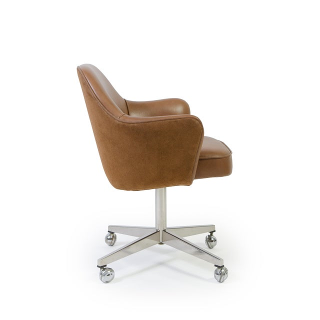 Saarinen for Knoll Saddle Leather & Suede Desk Chair - Image 3 of 9