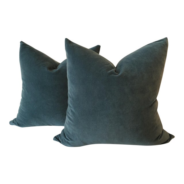 Teal Velvet Pillows - A Pair - Image 1 of 4