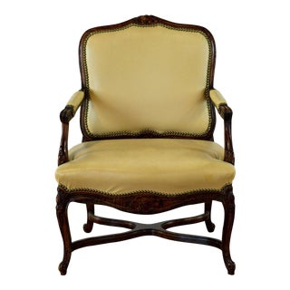 French Style Upholstered Armchair For Sale