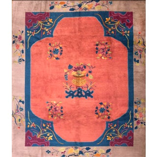 1920s Antique Chinese Art Deco Rug- 8′2″ × 9′9″ For Sale