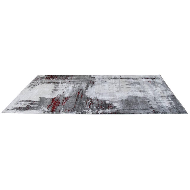 """Contemporary Gray & Red Abstract Rug - 6'7"""" x 9'7"""" - Image 4 of 8"""