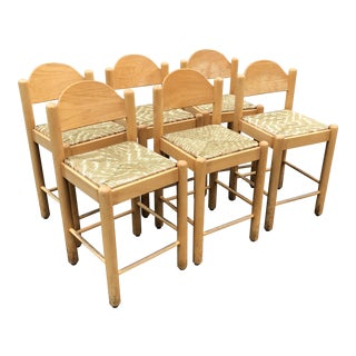 1960s Vintage Vico Magistretti Carimate Counter Stools- Set of 6 For Sale