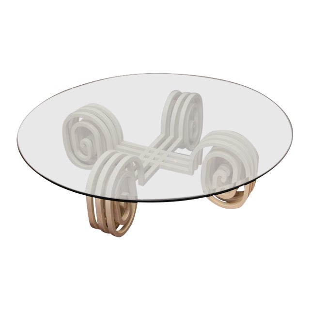 1980s Lacquered Wood and Glass Coffee Table For Sale