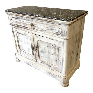 French Marble Top Louis Philippe Buffet Desk For Sale