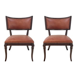 Traditional Ferguson Copland Russet Red Leather Klismos Chairs Pair For Sale