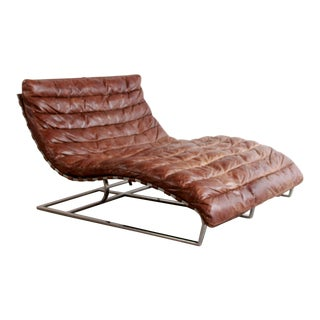 Restoration Hardware Oviedo Double Chaise Lounge in Brown Leather & Stainless Steel For Sale