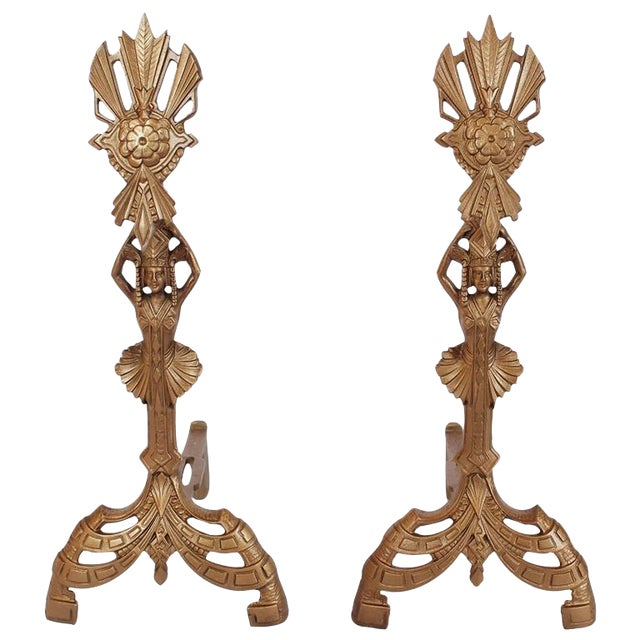 Early 20th C. American Art Nouveau Andirons- A Pair For Sale