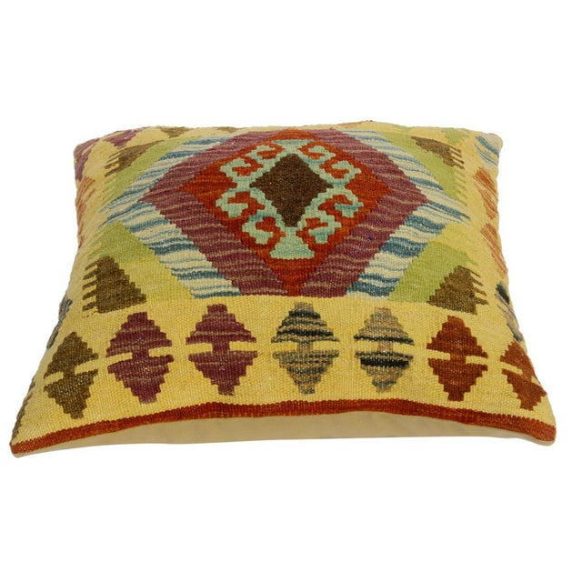 "Asian Claretta Gold/Rust Hand-Woven Kilim Throw Pillow(18""x18"") For Sale - Image 3 of 6"