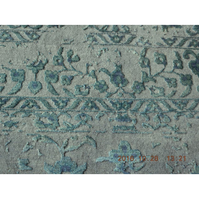 Blue & Gray Hand Knotted Indian Rug - 8′ × 10′ - Image 9 of 9