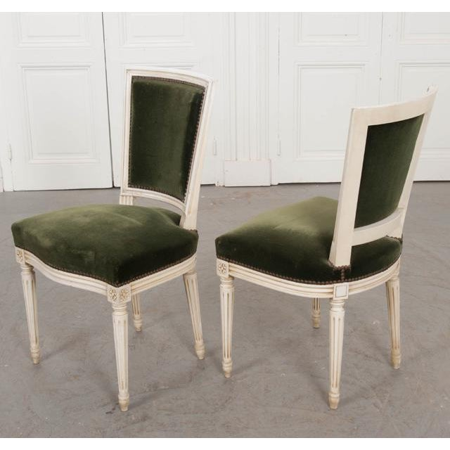 French Vintage Louis XVI Painted Side Chairs - a Pair For Sale - Image 10 of 11