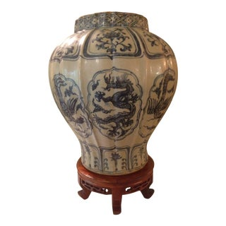 Chinese Blue and White Vase & Stand For Sale
