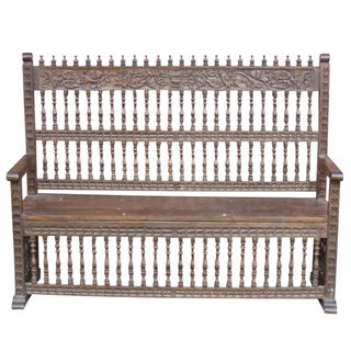 Peruvian Carved Capilla Bench For Sale