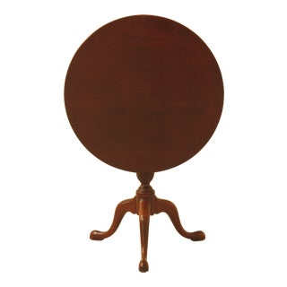 1970s Queen Anne Kittinger Historic Newport Round Mahogany Tilt Top Table For Sale