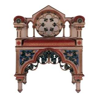 19th Century Polychromed Gothic Revival Armchair For Sale