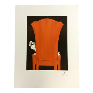 """Art Deco Modern Unframed """"La Chaise Rouge"""" by Rene Gruau Hand Signed Lithograph For Sale"""