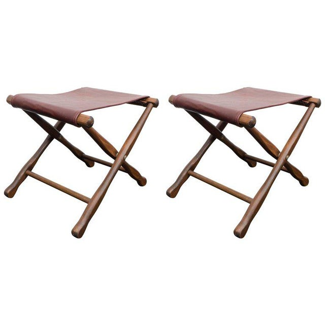 Mid-Century Modern Pair of Folding Stools For Sale - Image 3 of 3