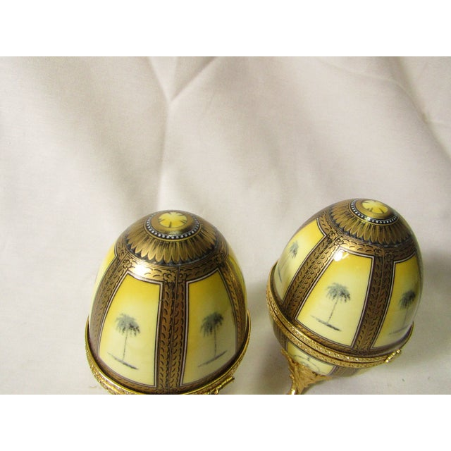 Hinged Porcelain Egg Trinket Box With Palm Trees - A Pair For Sale - Image 5 of 7