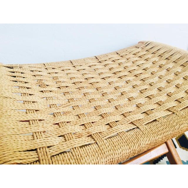 Boho Chic Mid Century Hans Wegner Style Folding Rope Stool For Sale - Image 3 of 10