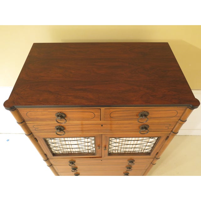 Hollywood Regency 1950s Regency Kittinger Satinwood Chiffonier High Chest For Sale - Image 3 of 11
