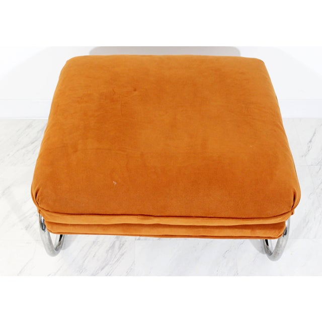 Mid-Century Modern Pair of Tubular Chrome Lounge Chairs and Ottoman For Sale - Image 9 of 11