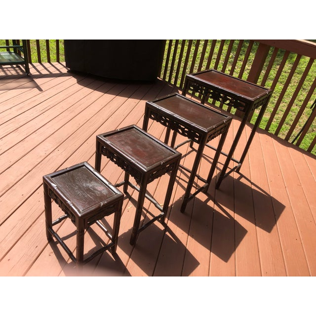 Asian Wooden Nesting Tables - Set of 4 For Sale - Image 13 of 13
