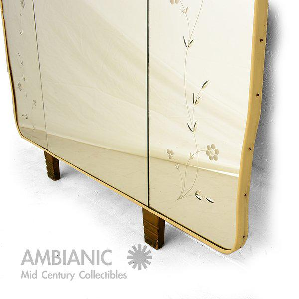 1940s Italian Full Length Mirror with Shelf & Hooks After Fontana Arte For Sale - Image 5 of 11