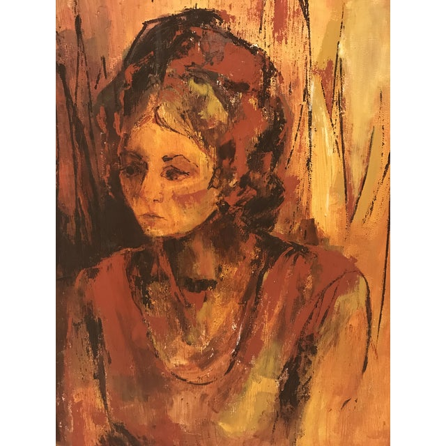 Mid-Century Original Portrait of a Woman Painting For Sale - Image 4 of 13